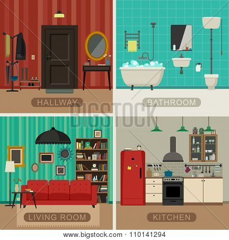 Basic rooms of apartment