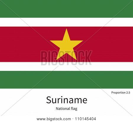National flag of Suriname with correct proportions, element, colors for education books and official documentation poster