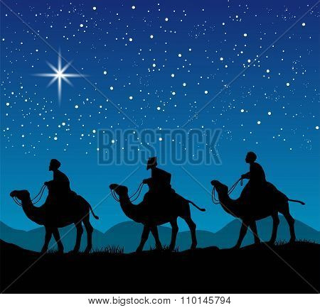 Christmas scene with the three wise men
