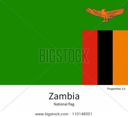National flag of Zambia with correct proportions, element, colors