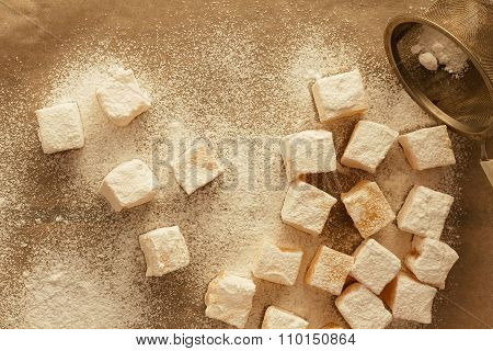 Turkish delight with sugar top view selective focus poster