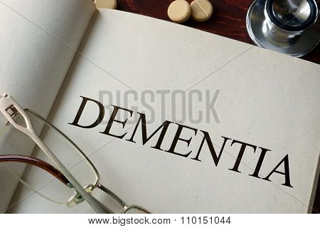 Book with diagnosis dementia.