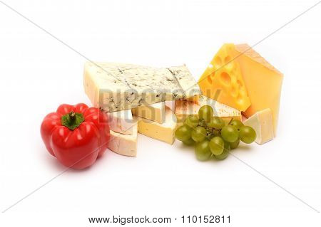 Various Types Of Cheese On White