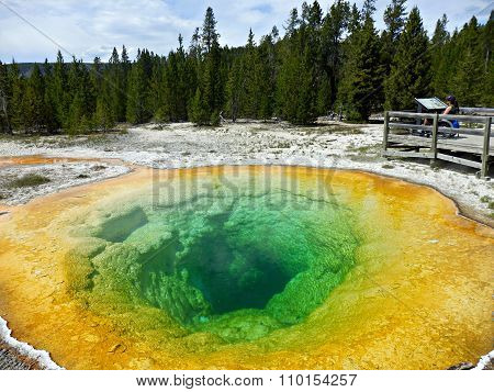 Young Woman In Wheelchair Observing Morning Glory Pool At Yellowstone National Park
