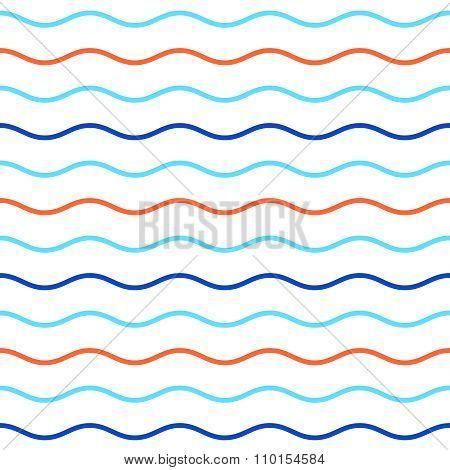 Blue And Orange Horizontal Wavy Lines Seamless Pattern