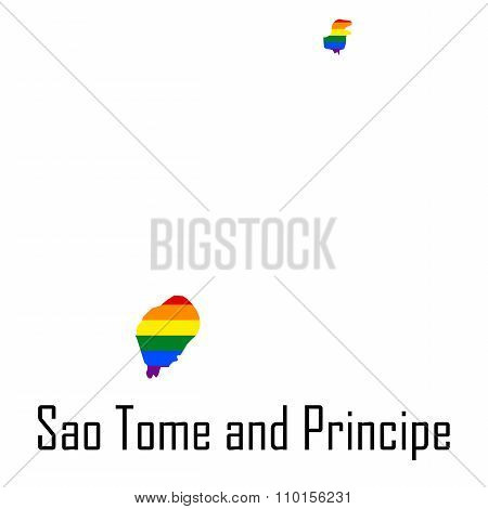 Vector Rainbow Map Of Sao Tome And Principe In Colors Of Lgbt - Lesbian, Gay, Bisexual, And Transgen