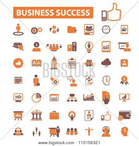 business success icons, signs vector concept set for infographics, mobile, website, application