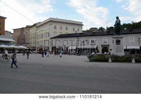 Mozart Monument On Mozart Square In Salzburg, Austria.