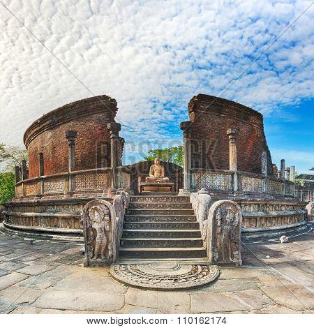 The Polonnaruwa Vatadage in the world heritage city Polonnaruwa, Sri Lanka.