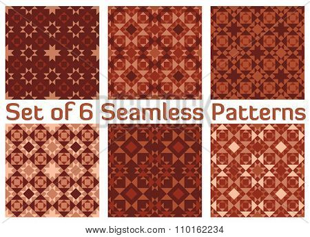 Set Of 6 Modern Geometric Seamless Patterns With Triangles And Squares Of Beige, Bisque, Dark Coral