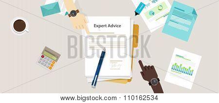 expert advice vector flat illustration concept hand on desk