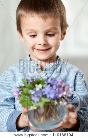Little Hands, Holding Glass Vase With Forest Spring Flower Bouquet