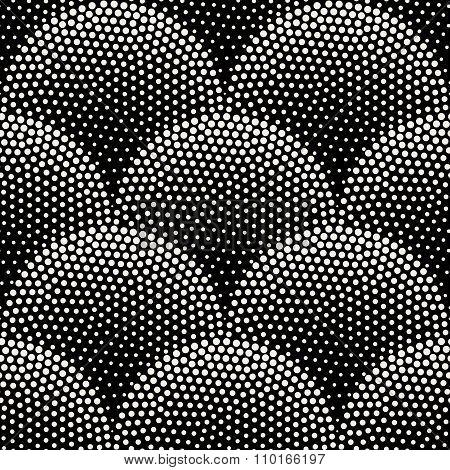 Vector Seamless Black  White Halftone Stippling Half Circles Pavement Pattern