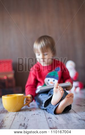 Little Boy, Playing On Tablet