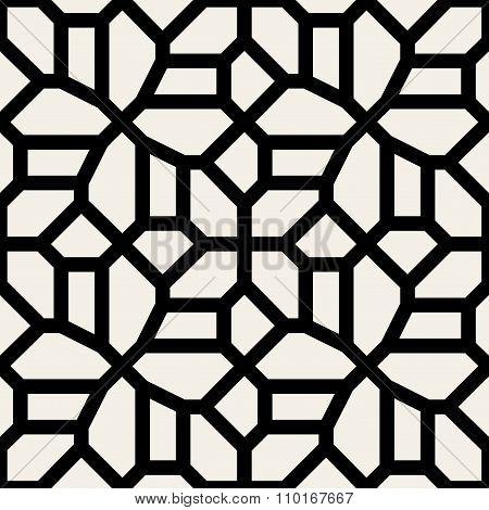 Vector Seamless Black And White Geometric Lace Pavement Pattern