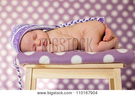 Baby Girl, Sleeping On A Chair
