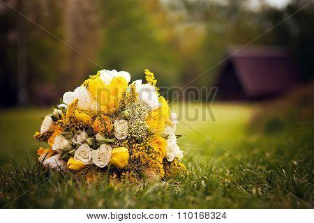 Beautiful Wedding Bouquet, Flowers, Roses, Beautiful Yellow Bouquet