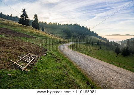 Place Where Sheeps Are Shaved By The Road In Mountains At Sunrise