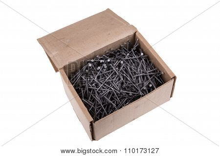 Nails In A Box On A White Background