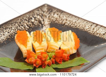 Sushi,japanese Food  Display On Dish