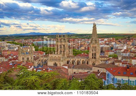 Burgos aerial view skyline sunset with Cathedral in Castilla Leon of Spain