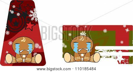 crying xmas gingerbread kid cartoon gift card