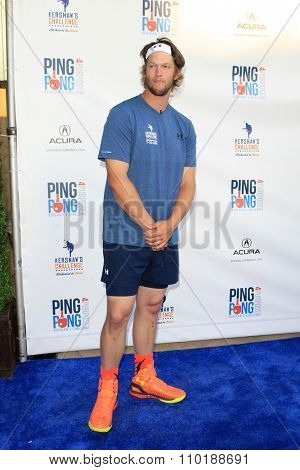 LOS ANGELES - JUL 30:  Clayton Kershaw at the Clayton Kershaw's 3rd Annual Ping Pong 4 Purpose at the Dodger Stadium on July 30, 2015in Los Angeles, CA