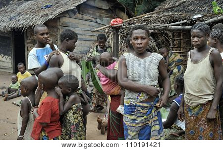 People From A Tribe Of Baka Pygmies In Village Of Ethnic Singing. Traditional Dance And Music. Nov,