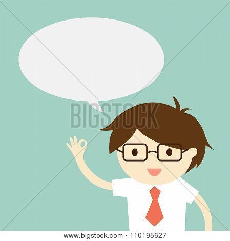 Business concept, Businessman with bubble. Vector illustration.
