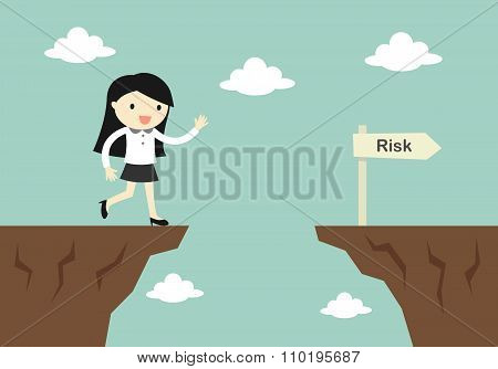 Business concept, business woman is careless while running in front of a gap. Vector illustration.