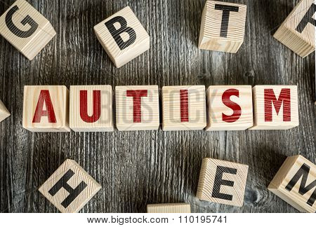 Wooden Blocks with the text: Autism