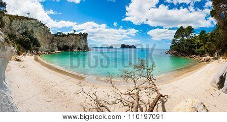 Panoramic photo of a beautiful beach at Stingray Bay at Cathedral Cove Marine Reserve, Coromandel Peninsula, New Zealand.