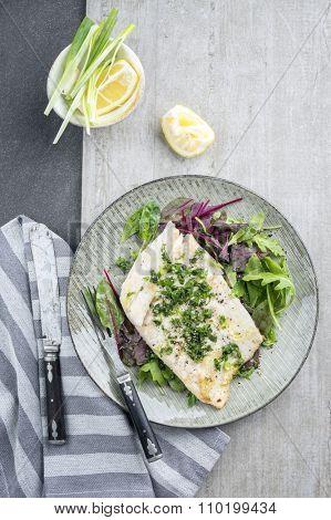 Coalfish Filet with Mixed Salad