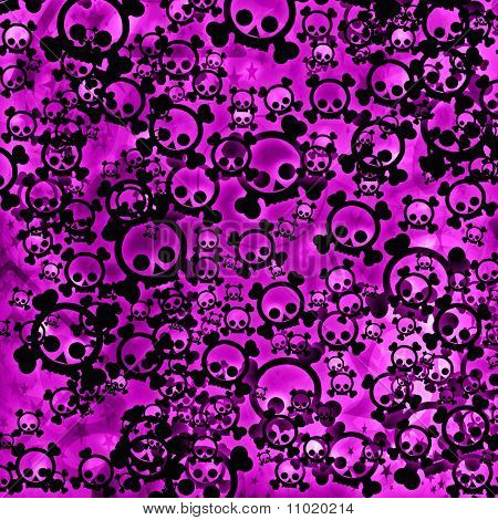 Pink emo skulls background