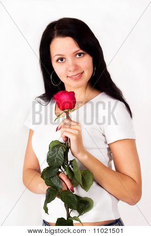 Pretty Girl Holding A Rose, Flower