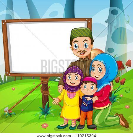 Border design with muslim family illustration
