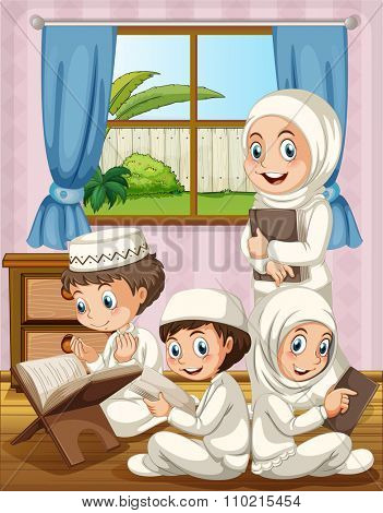 Muslim family praying in the house illustration