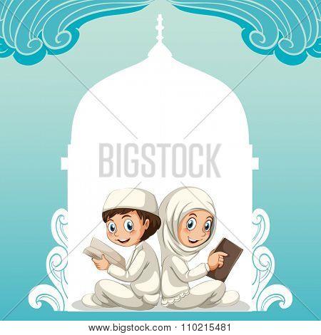 Muslim kids sitting praying together