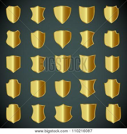 Golden shield design set with various shapes.