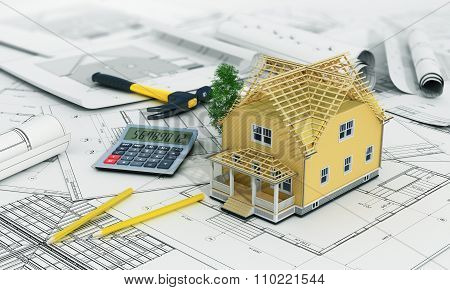 Concept Of Construction And Architect Design. 3D Render Of House In Building Process With Tree, Calc