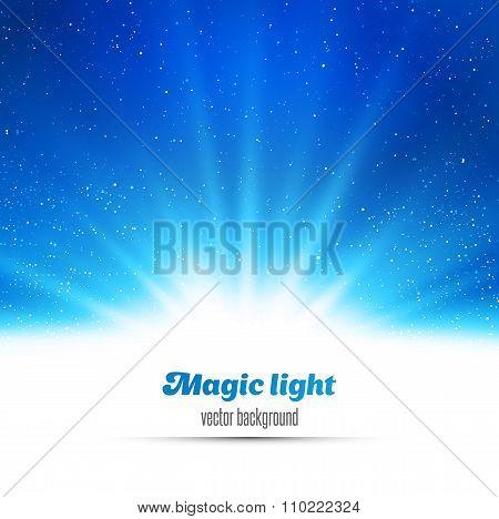 Blue holiday burst abstract magic light background