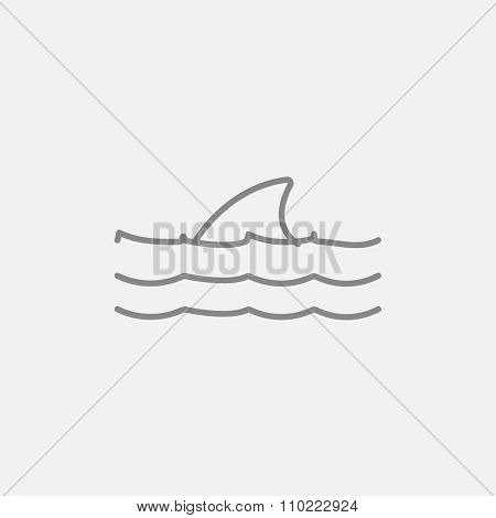Dorsal shark fin above water line icon for web, mobile and infographics. Vector dark grey icon isolated on light grey background.