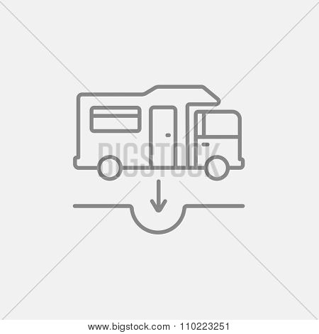 Motorhome and sump line icon for web, mobile and infographics. Vector dark grey icon isolated on light grey background.