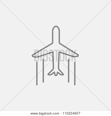 Cargo plane line icon for web, mobile and infographics. Vector dark grey icon isolated on light grey background.