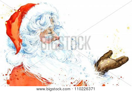 Watercolor Santa Claus. Santa Claus Christmas background. New Year background.