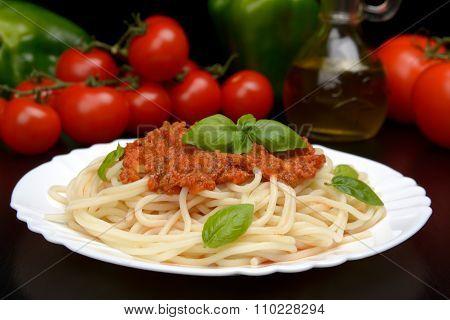 Spaghetti Ragu Alla Bolognese Sauce On Black,close Up
