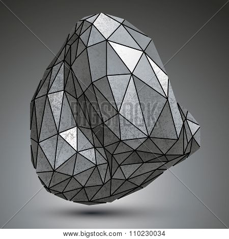 Distorted Galvanized 3D Object Created From Geometric Figures, Complicated Spatial Design Model.