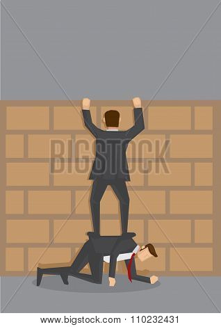 Climbing Over Wall Vector Cartoon Illustration