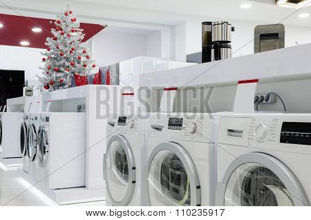 Washing machines, refrigerators and other home related appliance or equipment in the retail store at Christmas