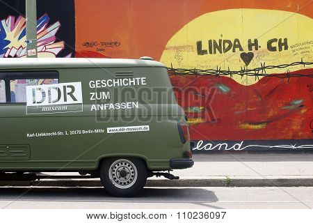 Barkas in front of the Berlin Wall